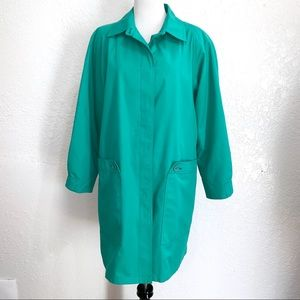 Vintage London Fog Button Down Turquoise Trench